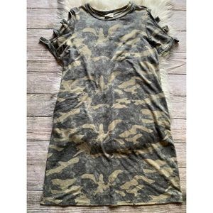 143 Story Camo Midi Dress Cut Out Shoulders
